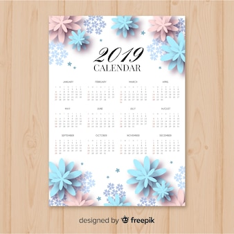 Элегантный цветочный календарь 2019 с плоским дизайном