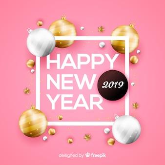 金色のボールの背景と新年2019