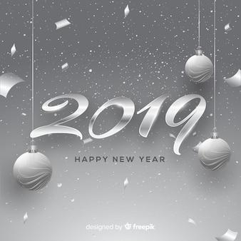Новый год 2019 серебристый фон