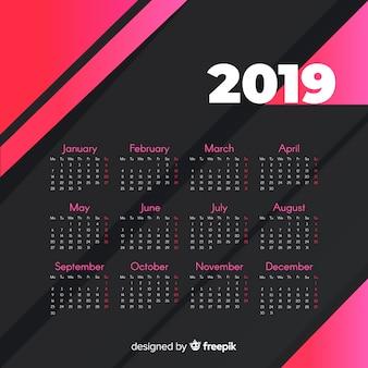 Современный шаблон календаря 2019 года