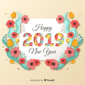 Новый год 2019 фон в стиле бумаги