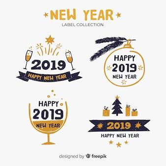 幸せな新年2019年のラベルコレクション