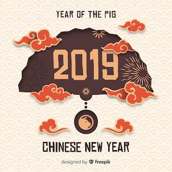 Китайский новый год 2019 фон в бумажном стиле