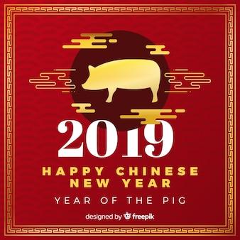 赤と黄金の中国の新年2019の背景