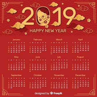赤と黄金の中国の新年2019カレンダー