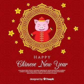 Плоский китайский новый год 2019 фон