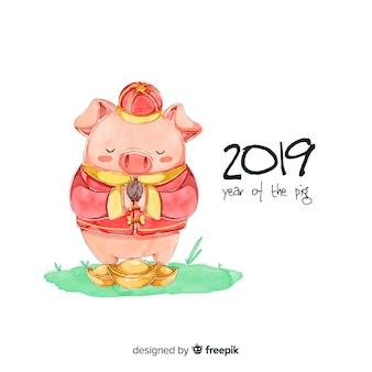 Акварель китайский новый год 2019 фон