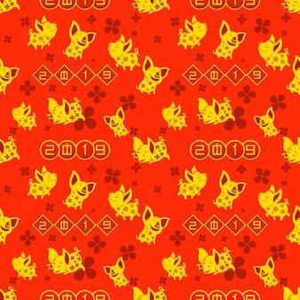 2019年中国の旧正月を祝うための金豚のシームレスなパターン。