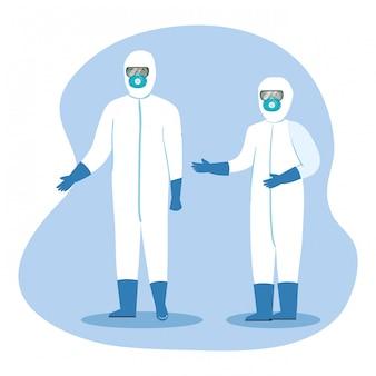 Медицинские работники с защитной одеждой для коронавируса 2019