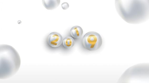 2019 с новым годом с цветными елочными шарами или абстрактными шариками или пузырьками