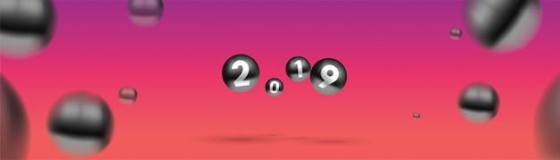 2019色とりどりのクリスマスボールや抽象的なボールや泡のような新年。