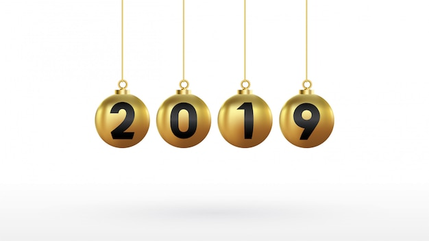 2019幸せな年、色のクリスマスボールゴールド