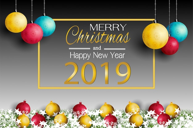 新しい年またはクリスマスカード2019