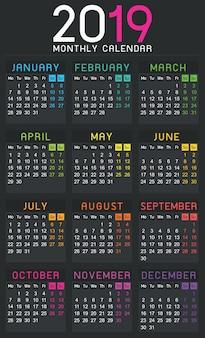 Календарь 2019 года простой шаблон - неделя начинается с понедельника.