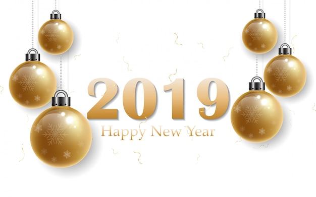 2019幸せな年、黒の背景に金のアルファベット