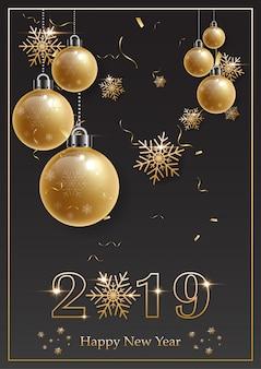 2019年、黒の背景に金のアルファベットと金のクリスマスボールとハッピーニューイヤー