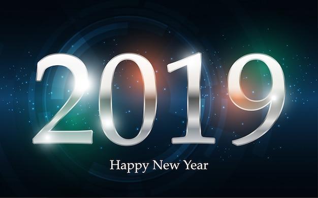 Серебряный 2019 с новым годом с абстрактным фоном