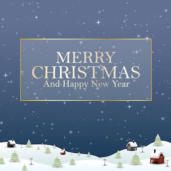 幸せな新年のメリークリスマス2019と雪