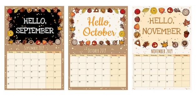 Симпатичный уютный планировщик осеннего календаря 2019 года с осенним декором.
