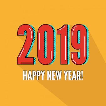 幸せな新年2019デザイン、黄色の背景