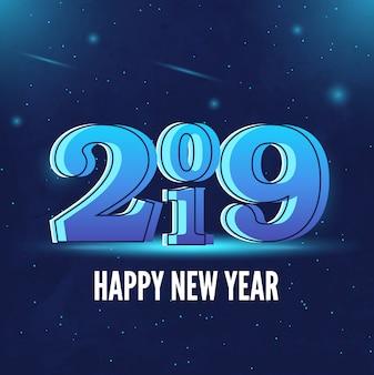 2019幸せな新年の青い背景
