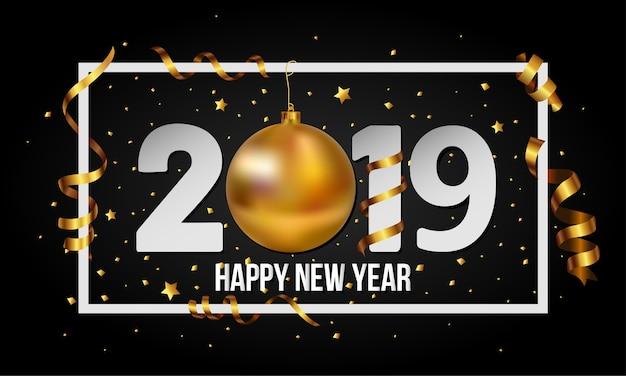 Вектор 2019 с новым годом фон