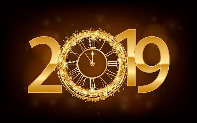 ハッピーニューイヤー2019  - 新年輝く背景