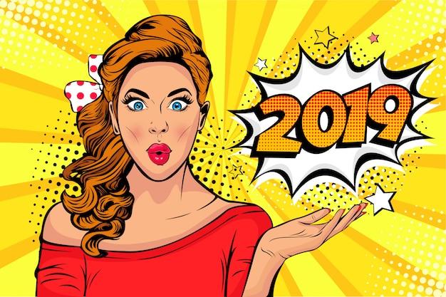 ポップアート新年のポスターまたはバナーとして2019番号の白人の若い女の子のうわーの顔