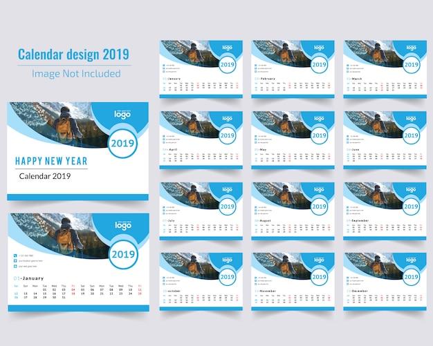 Синий настольный календарь 2019