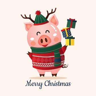 豚の2019年新年。クリスマスグリーティングカード
