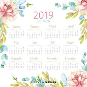 水彩2019カレンダー
