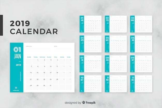 2019月カレンダー