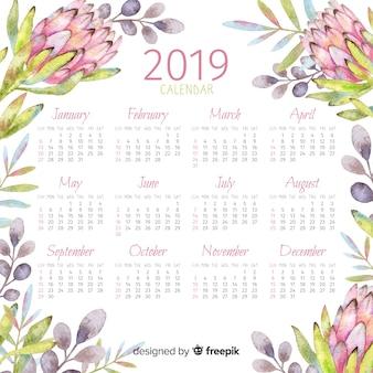 2019水彩の花のカレンダー