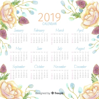 Акварельный цветочный календарь 2019 года