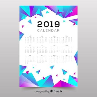 Красочные абстрактные формы календаря 2019 года