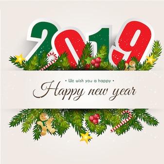 グリーティングカードの背景の幸せな新年2019。