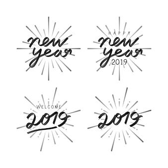 2019年の新しい年の祝賀バッジベクトルのセット