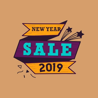 新年2019販売エンブレムベクトル