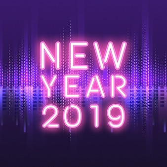 Новый год 2019 неоновый знак