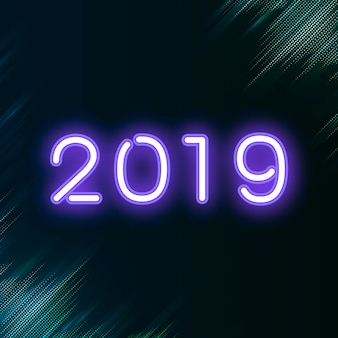 Фиолетовый неоновый знак 2019