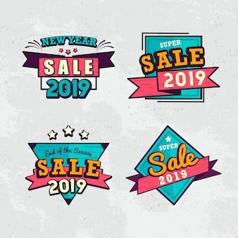 2019新年セールバッジベクトルセット
