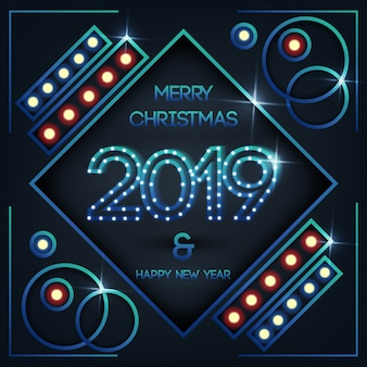 クリスマスと新年のグリーティングカード2019