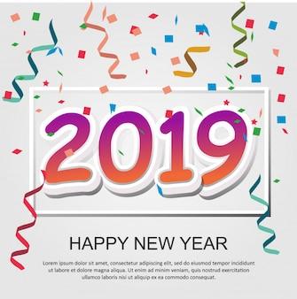 バナー、表紙、ポスター、チラシ、背景のための2019幸せな新年のデザイン。