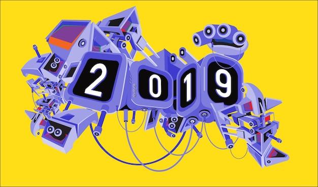 デジタルサイエンスフィクションのロボットの背景を持つ新年2019年のテキスト