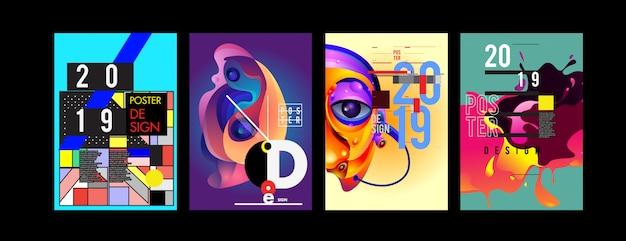2019 новый шаблон дизайна плаката и обложки