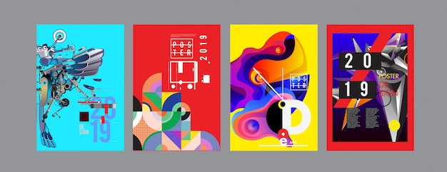 2019新しいポスターと表紙のデザインテンプレート