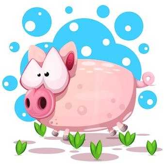 Симпатичный прыжок свиньи. символ 2019 года.