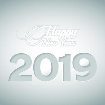 幸せな新年と紙のスタイルから切り落とされた数字2019