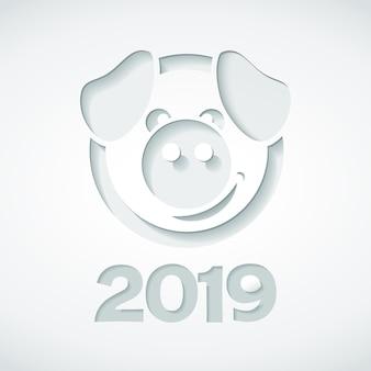 2019 и свинья вырезали из бумажного стиля.