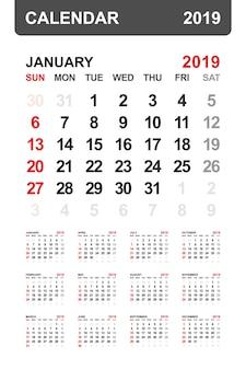 カレンダー2019年。